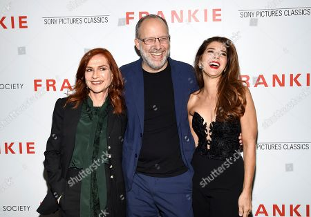 "Isabelle Huppert, Ira Sachs, Marisa Tomei. Writer-director Ira Sachs, center, poses with actors Isabelle Huppert, left, and Marisa Tomei at a special screening of Sony Pictures Classics' ""Frankie,"" hosted by The Cinema Society, at Metrograph, in New York"
