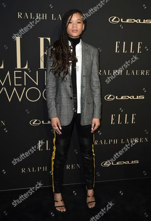 Storm Reid arrives at the 26th annual ELLE Women in Hollywood Celebration at the Four Seasons Hotel, in Los Angeles