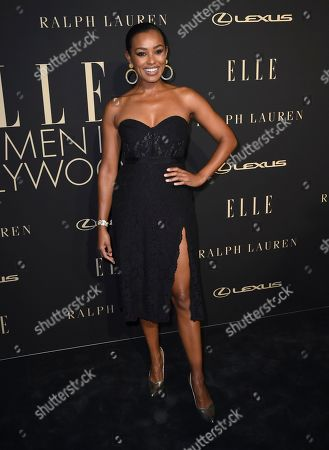Melanie Liburd arrives at the 26th annual ELLE Women in Hollywood Celebration at the Four Seasons Hotel, in Los Angeles