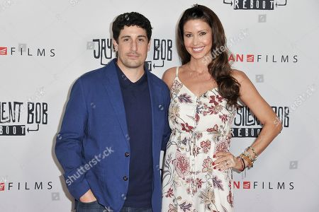 """Jason Biggs, Shannon Elizabeth. Jason Biggs, left, and Shannon Elizabeth attend a special Screening of """"Jay and Silent Bob Reboot"""" at the TCL Chinese Theatre, in Los Angeles"""