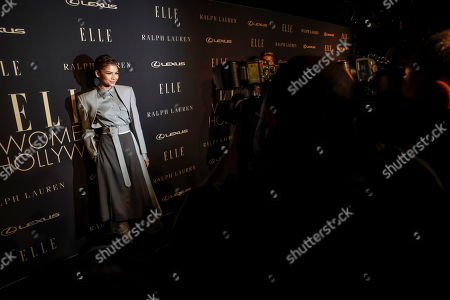 Stock Photo of Zendaya Coleman poses on the red carpet during the 26th Annual ELLE Women in Hollywood Celebration, Beverly Hills, California, USA, 14 October 2019.