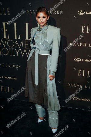 Zendaya Coleman poses on the red carpet during the 26th Annual ELLE Women in Hollywood Celebration, Beverly Hills, California, USA, 14 October 2019.