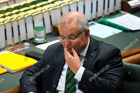 Australian Prime Minister Scott Morrison reacts during the House of Representatives Question Time at Parliament House in Canberra, Australia, 15 October 2019.