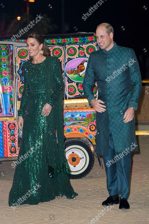 Prince William and Catherine Duchess of Cambridge during a reception hosted by the British High Commissioner to Pakistan in Islamabad