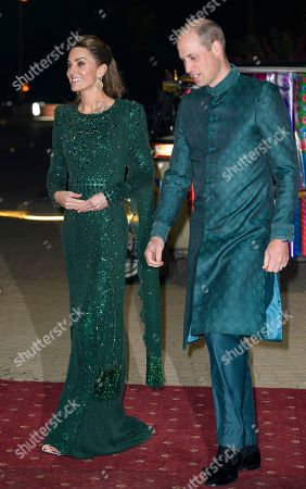 Catherine Duchess of Cambridge and Prince Harry during a reception hosted by the British High Commissioner to Pakistan in Islamabad