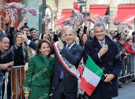 Stock Picture of Grand Marshal Massimo Ferragamo in Fifth Avenue in New York City during the annual Columbus Day parade