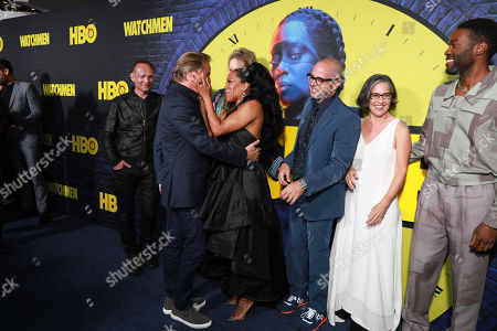 "Andrew Howard, Don Johnson, Jean Smart, Regina King, Damon Lindelof, Nicole Kassell, Yahya Abdul-Mateen II. Andrew Howard, on left, Don Johnson, Jean Smart, Regina King, Damon Lindelof, Nicole Kassell, Yahya Abdul-Mateen II attend the ""Watchmen"" premiere at the Cinerama Dome on in Los Angeles"