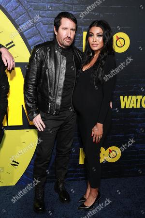 """Trent Reznor, Mariqueen Maandig. Trent Reznor and Mariqueen Maandig attends the """"Watchmen"""" premiere at the Cinerama Dome on in Los Angeles"""