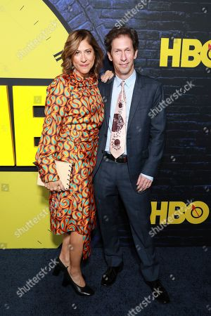 """Lisa Benavides, Tim Blake Nelson. Lisa Benavides and Tim Blake Nelson attend the """"Watchmen"""" premiere at the Cinerama Dome on in Los Angeles"""
