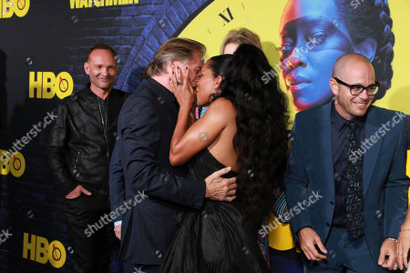 "Andrew Howard, Don Johnson,Regina King, Damon Lindelof. Andrew Howard, on left, Don Johnson, Regina King, Damon Lindelof, attend the ""Watchmen"" premiere at the Cinerama Dome on in Los Angeles"
