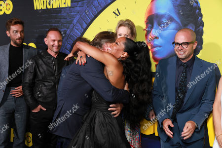 "Tom Mison, Andrew Howard, Don Johnson, Jean Smart, Regina King, Damon Lindelof, attend the ""Watchmen"" premiere at the Cinerama Dome on in Los Angeles"