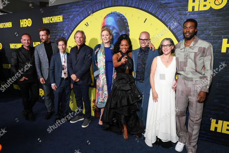 "Andrew Howard, Tom Mison, Tim Blake Nelson, Don Johnson, Jean Smart, Regina King, Damon Lindelof, Nicole Kassell, Yahya Abdul-Mateen II. Andrew Howard, on left, Tom Mison, Tim Blake Nelson, Don Johnson, Jean Smart, Regina King, Damon Lindelof, Nicole and Kassell, Yahya Abdul-Mateen II attend the ""Watchmen"" premiere at the Cinerama Dome on in Los Angeles"