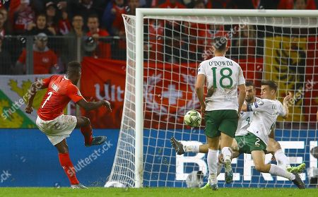 Seamus Coleman of Republic of Ireland concedes a penalty and is sent off for a second yellow card