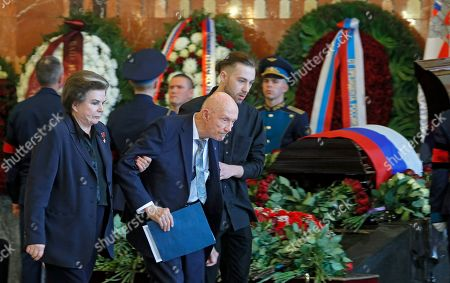 First woman in space Valentina Tereshkova (L), Thomas P. Stafford (C), former NASA astronaut attend a mourning ceremony for Russian cosmonaut Alexei Leonov at the Federal Military Memorial Cemetery outside Moscow, Russia, 15 October 2019. The Soviet cosmonaut Alexei Leonov, the first human to perform a spacewalk on 18 March 1965, died on 11 October 2019 at the age of 85.