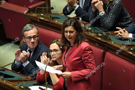 Stock Image of Laura Boldrini (R) of Liberi e Uguali Party during the Government's urgent information on the military operation undertaken by Turkey in the north-east of Syria, in Rome, Italy, 15 October 2019.Di Maio told parliament that the government will pass a decree to suspend future arms exports to Turkey and will assess existing contracts for weapons sales to Ankara. Turkey on the 09 October 2019 launched a military offensive targeting Kurdish forces in north-eastern Syria, days after the US withdrew troops from the area.