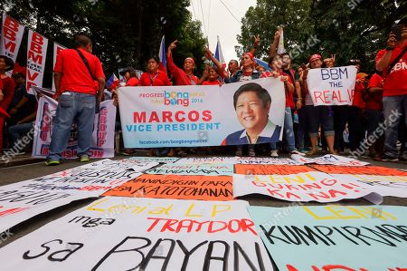 """Stock Photo of Supporters of former senator Ferdinand """"Bongbong"""" Marcos Jr. hold a rally outside the Supreme Court in Manila, Philippines on . In their statement, the Supreme Court sitting as Presidential Electoral Tribunal has decided to release to the parties of Marcos Jr. and Vice President Leonor Robredo the report on revision and appreciation of ballots in the 3 pilot provinces and for them to comment. The son of the late dictator, Marcos, has filed an electoral protest against Vice President Robredo which he accused of cheating in the 2016 elections"""