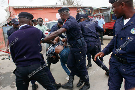 Stock Image of Angolan activists clash with police during a protest against unemployment, Luanda, Angola, 15 October 2019. The protests took place on the same day the Angolan President Joao Lourenco adresses the nation in the opening day of the National Assembly.