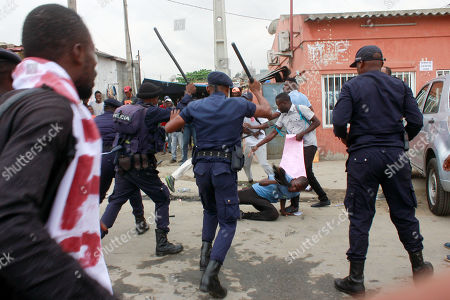 Angolan activists clash with police during a protest against unemployment, Luanda, Angola, 15 October 2019. The protests took place on the same day the Angolan President Joao Lourenco adresses the nation in the opening day of the National Assembly.