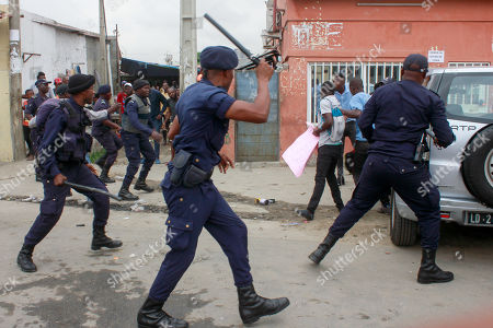 Stock Photo of Angolan activists clash with police during a protest against unemployment, Luanda, Angola, 15 October 2019. The protests took place on the same day the Angolan President Joao Lourenco adresses the nation in the opening day of the National Assembly.