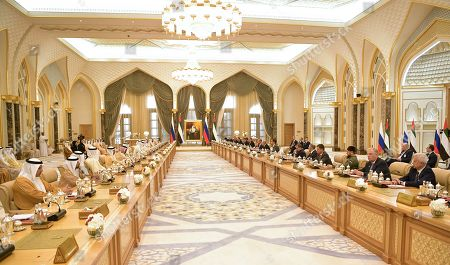 General view of  UAE-Russian talks with participation of Russian President Vladimir Putin and Abu Dhabi's Crown Prince Sheikh Mohammed bin Zayed Al Nahyan at the Qasr Al Watan palace in Abu Dhabi, United Arab Emirates, 15 October 2019. Russian President Vladimir Putin is on a state visit to UAE.