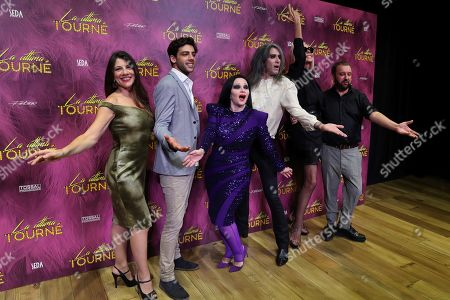 Director and playwright Felix Sabroso (R) poses with singers Alaska (3-L) and Mario Vaquerizo (3-R) as well as Spanish actress Bibiana Fernandez (2-R) and Marisol Muriel (L) during the presentation of the play 'La Ultima Tourne' (lit. the last tournee) in Madrid, Spain, 15 October 2019. The play will be in theater in Madrid from 14 to 17 November 2019. Others are not identified.
