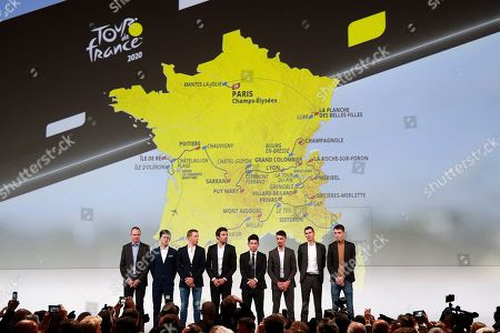 Riders (L-R) British Christopher Froome, Colombian Egan Bernal, Dutch Steven Kruijswijk, French Thibault Pinot, Australian Caleb Ewan, French Julian Alaphilippe, French Warren Barguil, and French Romain Bardet attend the presentation of the Tour de France 2020 cycling race in Paris, France, 15 October 2019. The 107th edition of the Tour de France will start from Nice on 27 June 2020 and will arrive in Paris on 19 July 2020.