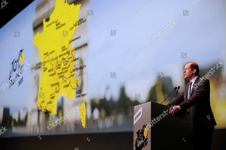 Stock Image of Tour de France general director Christian Prudhomme delivers his speech during the presentation of the Tour de France 2020 cycling race in Paris, France, 15 October 2019. The 107th edition of the Tour de France will start from Nice on 27 June 2020 and will arrive in Paris on 19 July 2020.