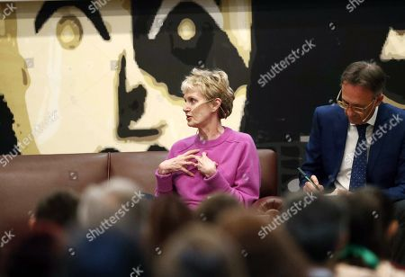 Stock Picture of US writer Siri Hustvedt delivers a speech as she holds a meeting with high school students at the IES Alfonso II high school in Oviedo, Asturias, northern Spain, 15 October 2019. Hustvedt will be awarded 2019 Princess of Asturias Award for Literature during the prizes awarding ceremony running in the city next 18 October.