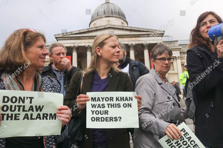 Green Party co founder Sian Berry (centre) defends the right to protest peacefully after climate activists were removed from Trafalgar Square
