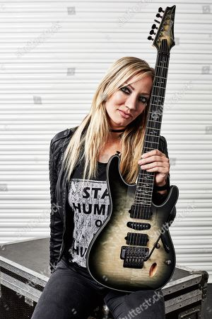 London United Kingdom - September 30: Portrait Of American Musician Nita Strauss Photographed Backstage During The Uk Guitar Show At The Olympia In London On September 30 2018. Strauss Is Best Known For Performing As A Guitarist With Hard Rock Musician Alice Cooper