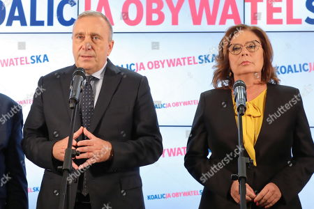 Grzegorz Schetyna (L) and Malgorzata Kidawa-Blonska (R) from Civic Platform (PO) attend a press conference in Warsaw, Poland, 15 October 2019. In the election to the Sejm (lower house) on 13 October, the conservative PiS received 43.59 percent of the vote, the centrist Civic Coalition (KO), led by the Civic Platform (PO), received 27.4 percent. The Left, a coalition of three left-wing parties, running under the Democratic Left Alliance (SLD) party banner, was supported by 12.56 percent. The agrarian Polish People's Party (PSL), which ran together with the right-wing Kukiz'15 movement, was supported by 8.55 percent of voters. The far-right Confederation was backed by 6.81 percent of voters. The German Minority will have one mandate. PiS lost its majority in the 100-seat Senate Senate (upper house), winning 48 seats. KO secured 43 mandates, PSL won 3 and SLD took 2. The four remaining seats went to independent candidates. The newly elected Sejm and Senate will hold their first sittings on 12 November at the latest.