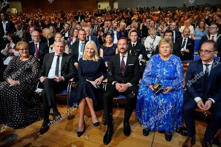 (L-R) Norwegian Minister of cultural affairs Trine Skei Grande, Director of Frankfurt Book Fair, Juergen Boos, Norwegian Crown Princess Mette-Marit, Crown Prince Haakon and Prime Minister of Norway Erna Solberg and German Minister of Foreign Affairs Heiko Maas attend the opening ceremony at the book fair Frankfurter Buchmesse 2019, in Frankfurt am Main, Germany, 15 October 2019. The 71th edition of the international Frankfurt Book Fair, described as the world's most important fair for the print and digital content business, runs from 16 to 20 October and gathers authors, writers and celebrities from all over the world.