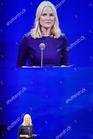 Norwegian Crown Princess Mette-Marit speaks during the opening ceremony at the book fair Frankfurter Buchmesse 2019, in Frankfurt am Main, Germany, 15 October 2019. The 71th edition of the international Frankfurt Book Fair, described as the world's most important fair for the print and digital content business, runs from 16 to 20 October and gathers authors, writers and celebrities from all over the world.
