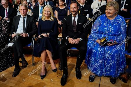 (L-R) Director of Frankfurt Book Fair, Juergen Boos, Norwegian Crown Princess Mette-Marit, Crown Prince Haakon and Prime Minister of Norway Erna Solberg attend the opening ceremony at the book fair Frankfurter Buchmesse 2019, in Frankfurt am Main, Germany, 15 October 2019. The 71th edition of the international Frankfurt Book Fair, described as the world's most important fair for the print and digital content business, runs from 16 to 20 October and gathers authors, writers and celebrities from all over the world.