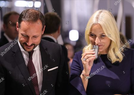 Norwegian Crown Princess Mette-Marit (R) and Crown Prince Haakon (L) during the official opening of the guest of honor presentation, Norway, at Frankfurt Book Fair 2019 in Frankfurt Main, Germany, 15 OctobeR 2019. The 71th edition of the international Frankfurt Book Fair, described as the world's most important fair for the print and digital content business, runs from 16 to 20 October and gathers authors, writers and celebrities from all over the world.