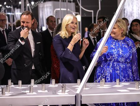 Norwegian Crown Princess Mette-Marit (C) Crown Prince Haakon (L) and Prime Minister of Norway Erna Solberg (R) during the official opening of the guest of honor presentation, Norway, at Frankfurt Book Fair 2019 in Frankfurt Main, Germany, 15 October, 2019. The 71th edition of the international Frankfurt Book Fair, described as the world's most important fair for the print and digital content business, runs from 16 to 20 October and gathers authors, writers and celebrities from all over the world.