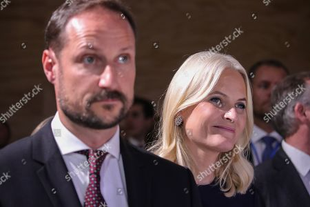 Norwegian Crown Princess Mette-Marit (R) with Crown Prince Haakon during the official opening of the guest of honor presentation, Norway, at Frankfurt Book Fair 2019 in Frankfurt Main, Germany, 15 October 2019. The 71th edition of the international Frankfurt Book Fair, described as the world's most important fair for the print and digital content business, runs from 16 to 20 October and gathers authors, writers and celebrities from all over the world.