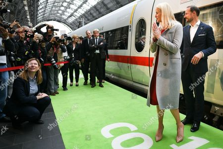 Norwegian Crown Princess Mette-Marit and Crown Prince Haakon arrive for the book fair Frankfurter Buchmesse 2019 with the literature train at the central station in Frankfurt am Main, Germany, 15 October 2019. The 71th edition of the international Frankfurt Book Fair, described as the world's most important fair for the print and digital content business, runs from 16 to 20 October and gathers authors, writers and celebrities from all over the world.
