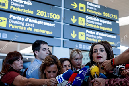Ciudadanos party's parliamentary spokesperson Ines Arrimadas (R) talks to the media during a presser in El Prat de Llobregat airport in Barcelona, Spain, 15 October 2019. Arrimadas addressed the mass protests against Spanish Supreme Court's sentence against the Catalan political leaders accused in the 'proces' trial for their role in the organization of the illegal Catalan independence referendum and following null declaration of independence and criticized Catalan regional President Quim Torra for supporting the protests. The Spanish Supreme Court announced the sentence against the Catalan political leaders accused in the 'proces' trial that provoked a huge surge of people taking the streets in Catalonia resulting in more than 130 injured people and the collapse of El Prat airport. EFE/ QUIQUE GARCIA