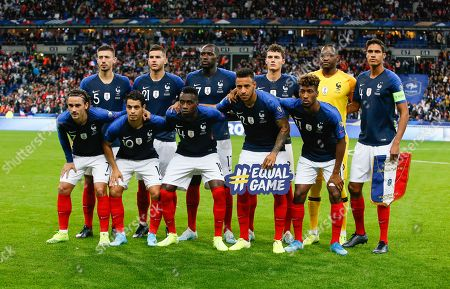 French players players: (back L to R) Clement Lenglet, Lucas Hernandez, Moussa Sissoko, Benjamin Pavard, Steve Mandanda and Raphael Varane, (front L to R) Antoine Griezmann, Wissam Ben Yedder, Blaise Matuidi, Corentin Tolisso and Kingsley Coman