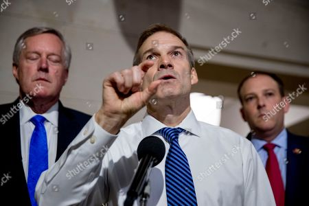 Mark Meadows, Jim Jordan, Lee Zeldin. Republican lawmakers, from left, Rep. Mark Meadows, R-N.C., Rep. Jim Jordan, R-Ohio, ranking member of the Committee on Oversight Reform, and Rep. Lee Zeldin R-N.Y., appear before members of the media outside a closed door meeting on Capitol Hill in Washington, as Deputy Assistant Secretary of State George Kent testifies before congressional lawmakers as part of the House impeachment inquiry into President Donald Trump