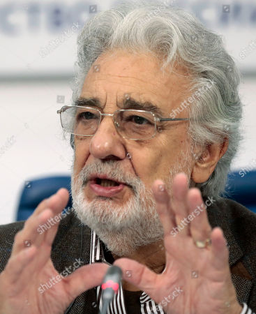 Spanish tenor Placido Domingo speaks during a press conference at TASS agency in Moscow, 15 October 2019. Placido Domingo will give a single concert at Crocus City Hall together with an orchestra Novaya Rossiya (New Russia) conducted by Yuri Bashmet and with Russian opera singers mezzo-soprano Maria Katayeva and soloist of Mariinsky theater soprano Oksana Shilova.