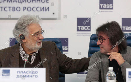 Spanish tenor Placido Domingo (L) speaks with Russian altist and conductor Yuri Bashmet (R) during a press conference at TASS agency in Moscow, 15 October 2019. Placido Domingo will give a single concert at Crocus City Hall together with an orchestra Novaya Rossiya (New Russia) conducted by Yuri Bashmet and with Russian opera singers mezzo-soprano Maria Katayeva and soloist of Mariinsky theater soprano Oksana Shilova.