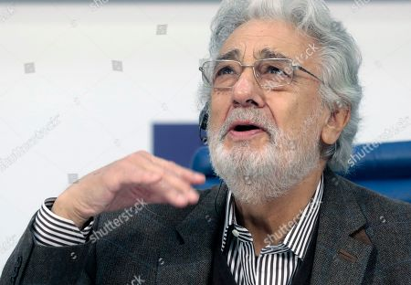 Spanish tenor Placido Domingo attends a press conference at TASS agency in Moscow, 15 October 2019. Placido Domingo will give a single concert at Crocus City Hall together with an orchestra Novaya Rossiya (New Russia) conducted by Yuri Bashmet and with Russian opera singers mezzo-soprano Maria Katayeva and soloist of Mariinsky theater soprano Oksana Shilova.
