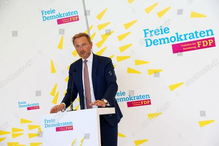 The federal Chairman of the German Free Democratic Party (FDP), Christian Lindner, gives a press statement ahead of the parliamentary group meeting in the German Bundestag, in Berlin, Germany, 15 October 2019. The FDP, The Left and The Greens parties are considering to request a committee of inquiry to the failed car toll plans by German Minister of Transport Andreas Scheuer.