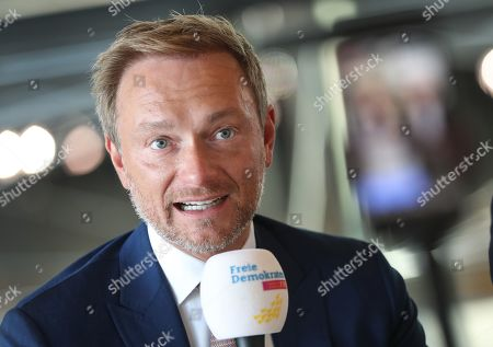 The federal Chairman of the German Free Democratic Party (FDP), Christian Lindner, speaks for the party's social media channel ahead of the parliamentary group meeting in the German Bundestag, in Berlin, Germany, 15 October 2019. The FDP, The Left and The Greens parties are considering to request a committee of inquiry to the failed car toll plans by German Minister of Transport Andreas Scheuer.