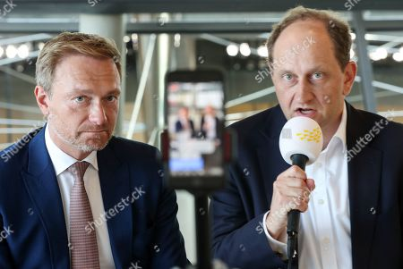 The federal Chairman of the German Free Democratic Party (FDP), Christian Lindner (L) and Alexander Graf Lambsdorff speak for the party's social media channel ahead of the parliamentary group meeting in the German Bundestag, in Berlin, Germany, 15 October 2019. The FDP, The Left and The Greens parties are considering to request a committee of inquiry to the failed car toll plans by German Minister of Transport Andreas Scheuer.
