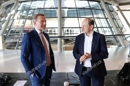 The federal Chairman of the German Free Democratic Party (FDP), Christian Lindner (L) talks with Alexander Graf Lambsdorff ahead of the parliamentary group meeting in the German Bundestag, in Berlin, Germany, 15 October 2019. The FDP, The Left and The Greens parties are considering to request a committee of inquiry to the failed car toll plans by German Minister of Transport Andreas Scheuer.