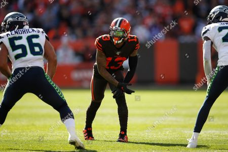 Cleveland Browns wide receiver Odell Beckham (13) lines up against the Seattle Seahawks during an NFL football game, in Cleveland
