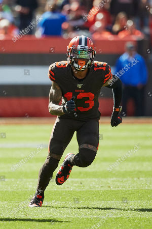 Cleveland Browns wide receiver Odell Beckham Jr. (13) runs a route against the Seattle Seahawks during an NFL football game in Cleveland